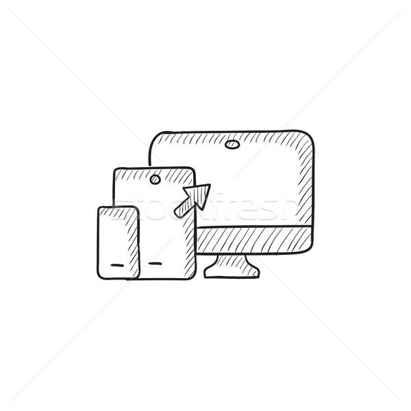 Sympathiek web design schets icon vector geïsoleerd Stockfoto © RAStudio