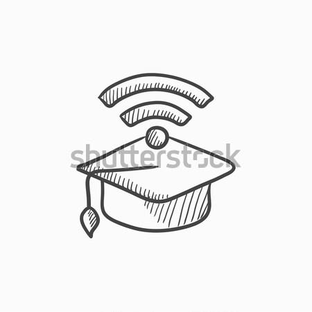 Ukończeniu cap wifi podpisania szkic ikona Zdjęcia stock © RAStudio