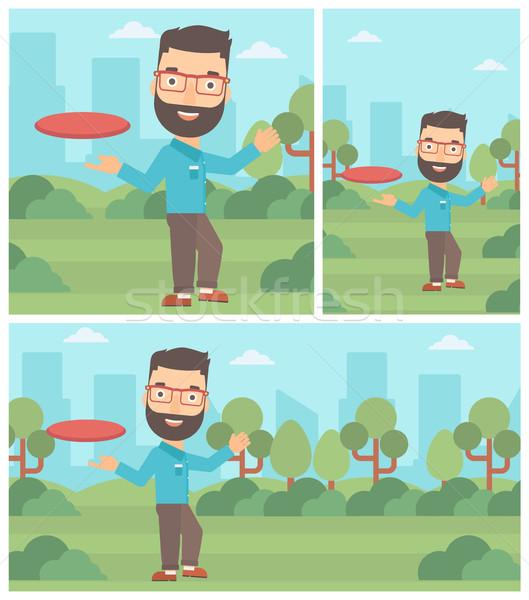 Man spelen vliegen schijf baard Stockfoto © RAStudio
