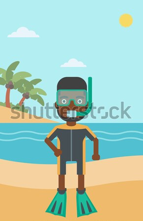 Female scuba diver on beach vector illustration. Stock photo © RAStudio