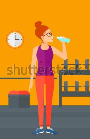 Sportive woman drinking water vector illustration. Stock photo © RAStudio
