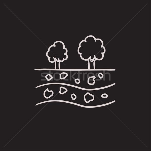 Cięcia gleby inny warstwy szkic ikona Zdjęcia stock © RAStudio