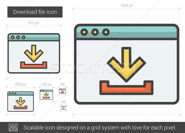 Downloaden bestand lijn icon vector geïsoleerd Stockfoto © RAStudio