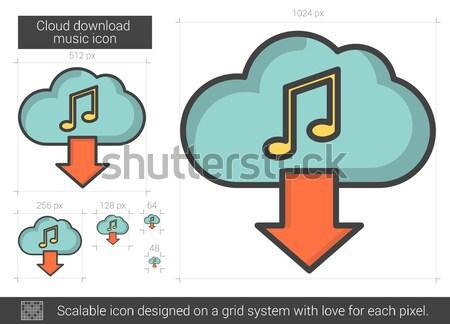 Nube download musica line icona vettore Foto d'archivio © RAStudio