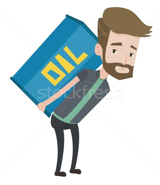 Man carrying oil barrel vector illustration. Stock photo © RAStudio