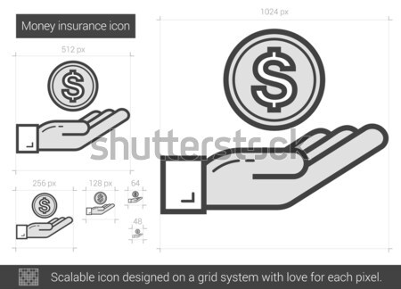 деньги страхования линия икона вектора изолированный Сток-фото © RAStudio