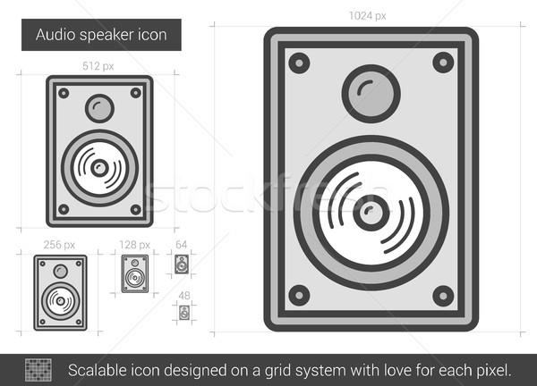 Audio orateur ligne icône vecteur isolé Photo stock © RAStudio