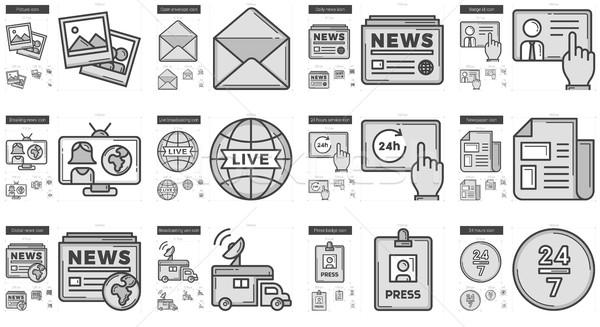 Periodismo línea vector aislado blanco Foto stock © RAStudio