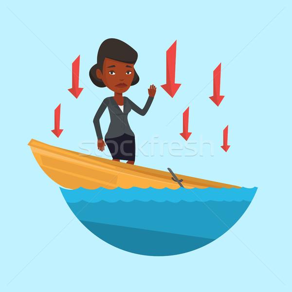 üzletasszony áll süllyed csónak kérdez segítség Stock fotó © RAStudio