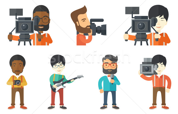 Stock photo: Vector set of media people characters.