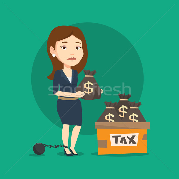 Stock photo: Chained woman with bags full of taxes.