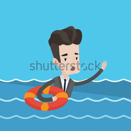 Businessman sinking and asking for help. Stock photo © RAStudio
