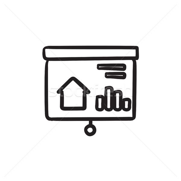 Presentazione proiettore schermo sketch icona immobiliari Foto d'archivio © RAStudio