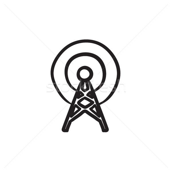 Anten kroki ikon vektör yalıtılmış Stok fotoğraf © RAStudio