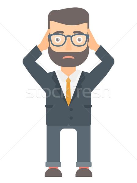 Becsődölt üzletember fej kaukázusi hipszter aggódó Stock fotó © RAStudio