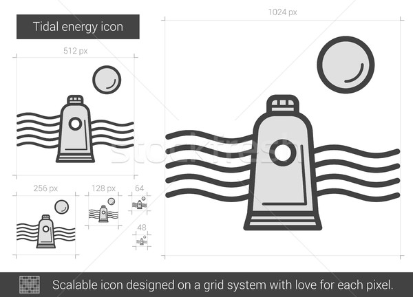 Stock photo: Tidal energy line icon.