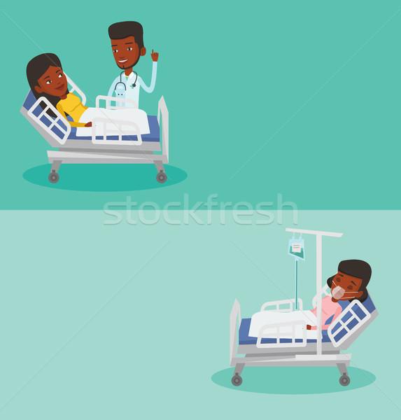 Dos médicos banners espacio texto vector Foto stock © RAStudio