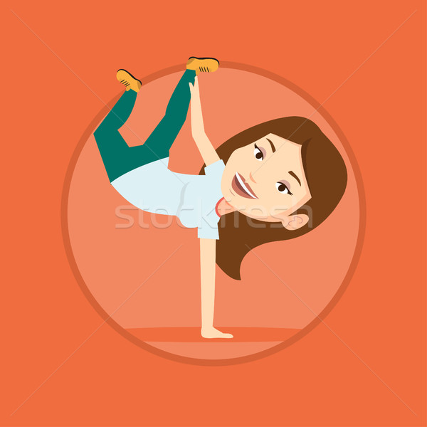 Young woman breakdancing vector illustration. Stock photo © RAStudio