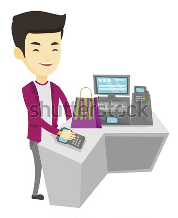 Man paying wireless with smart watch. Stock photo © RAStudio
