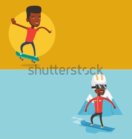 Cheerful skier standing with raised hands. Stock photo © RAStudio