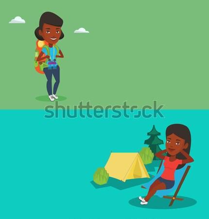 Woman with backpack hiking vector illustration. Stock photo © RAStudio