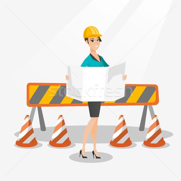Engineer watching a blueprint vector illustration. Stock photo © RAStudio