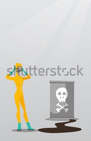 женщину излучение костюм голову глядя баррель Сток-фото © RAStudio
