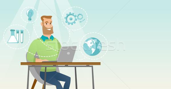 Student werken laptop jonge kaukasisch met behulp van laptop Stockfoto © RAStudio