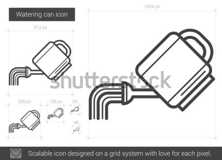 Locsolókanna vonal ikon vektor izolált fehér Stock fotó © RAStudio
