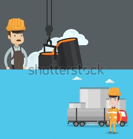 Dos industrial banners espacio texto vector Foto stock © RAStudio
