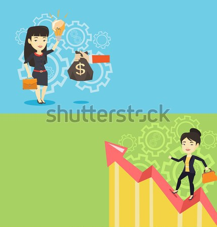 Happy business woman standing on profit chart. Stock photo © RAStudio