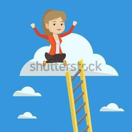 Happy business woman sitting on the cloud. Stock photo © RAStudio