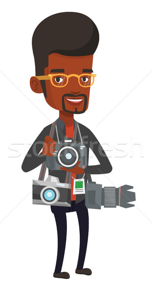 Photographe photo africaine beaucoup caméras Photo stock © RAStudio