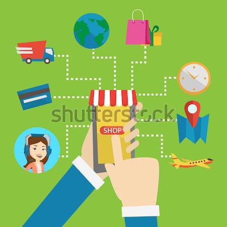 Zdjęcia stock: Zakupy · online · wektora · projektu · ilustracja · ludzi · ręce