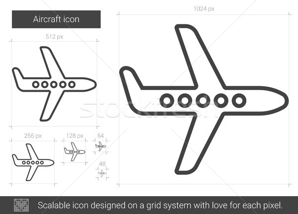 самолета линия икона вектора изолированный белый Сток-фото © RAStudio