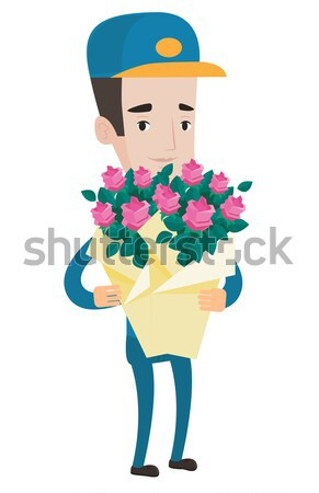 Young asian groom with a bridal bouquet. Stock photo © RAStudio