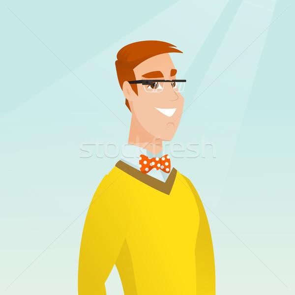 Young caucasian man wearing smart glasses. Stock photo © RAStudio