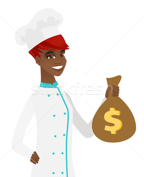 Young african-american chef holding a money bag. Stock photo © RAStudio