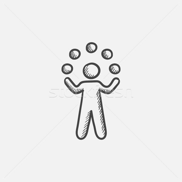 Férfi zsonglőrködés golyók rajz ikon háló Stock fotó © RAStudio