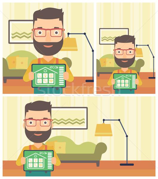 Inteligentes casa automatización hombre barba Foto stock © RAStudio