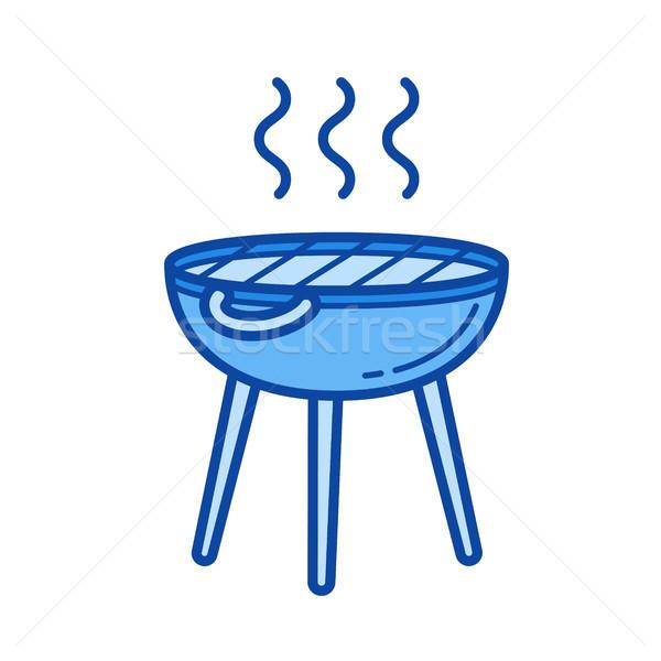 BBQ grill vonal ikon vektor izolált Stock fotó © RAStudio