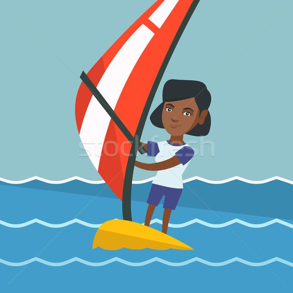 Fiatal nő windszörf tenger áll tábla Stock fotó © RAStudio