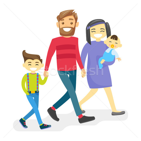 Cheerful multiethnic diverse family with happy kids. Stock photo © RAStudio