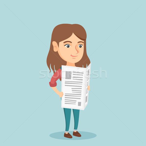 Young caucasian woman reading a newspaper. Stock photo © RAStudio