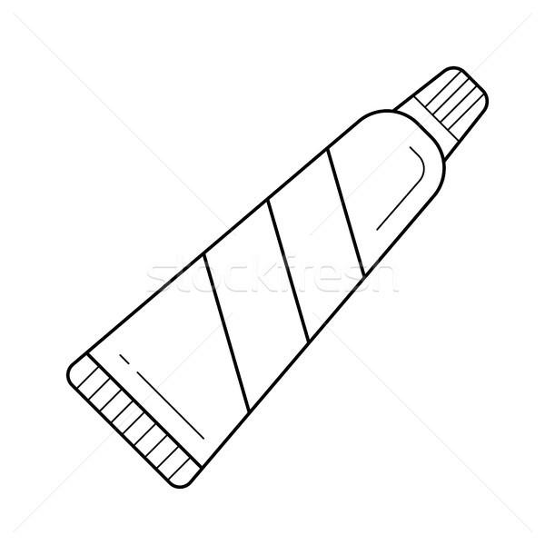 Creme dental linha ícone caixa vetor isolado Foto stock © RAStudio