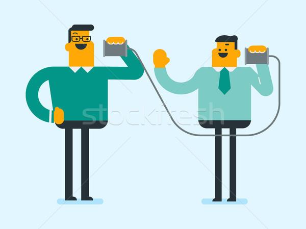 Caucasian white friends talking through tin phone. Stock photo © RAStudio