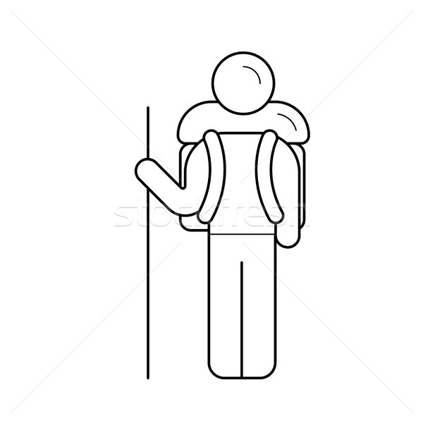 Explorer with a backpack activity line icon. Stock photo © RAStudio