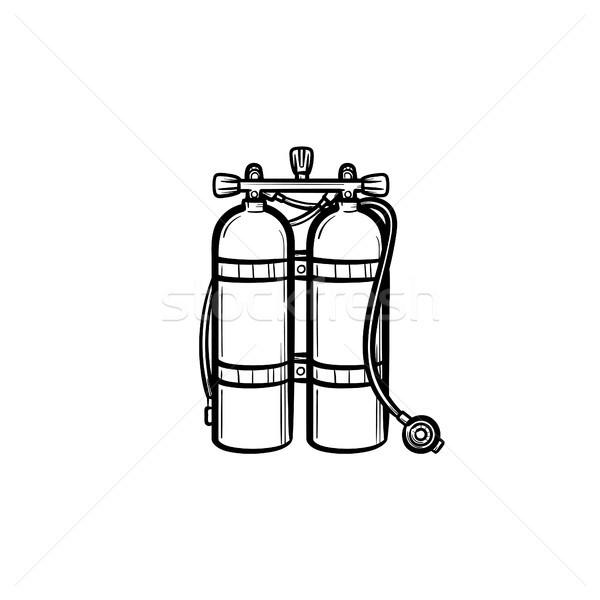 Stockfoto: Zuurstof · tank · schets · icon · schets