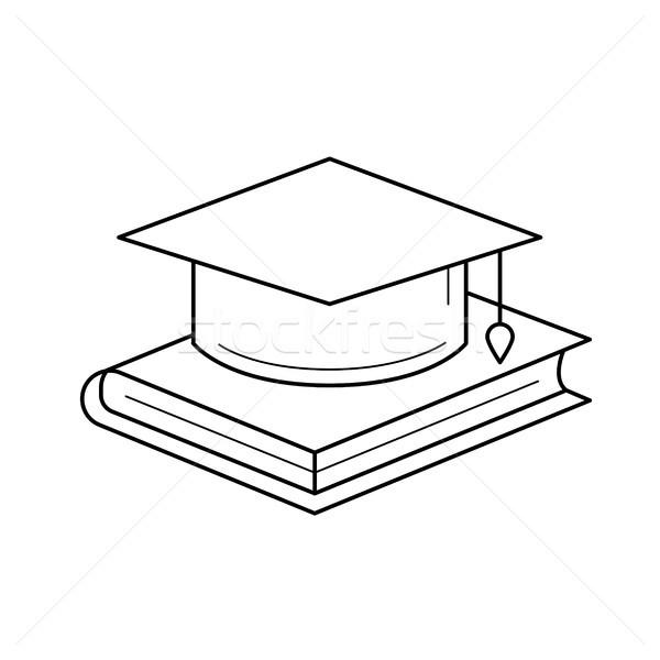 Graduation cap on book vector line icon. Stock photo © RAStudio