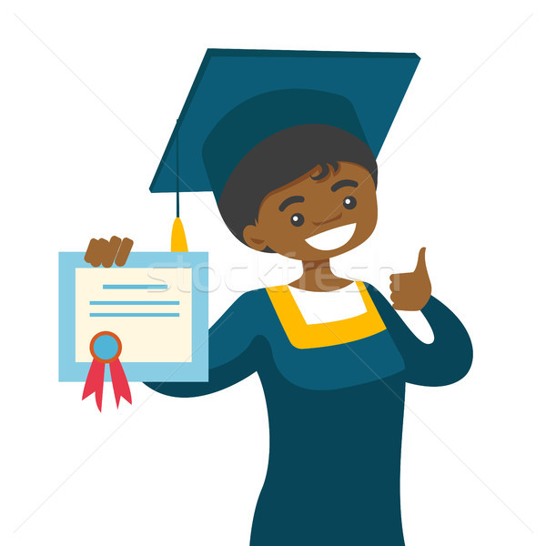 African-american graduate giving thumb up. Stock photo © RAStudio